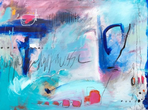 Postcard from NYC to Skye - a new abstract contemporary expressionism fine art painting during the pandemic by nyc artist sarah gilbert fox