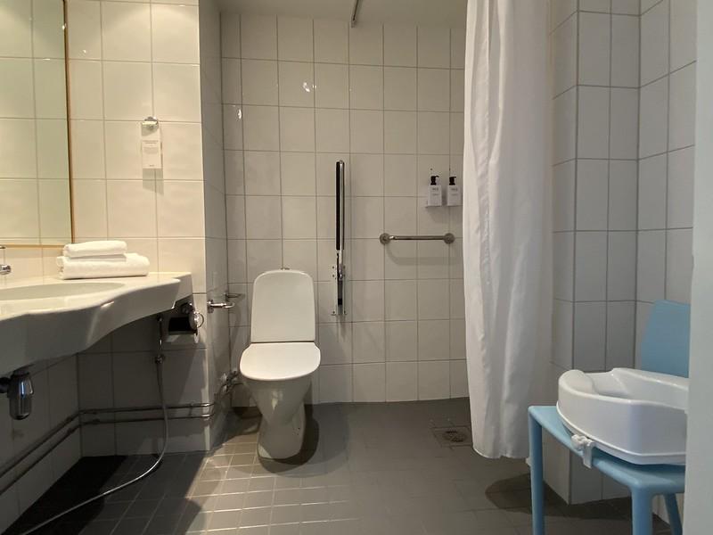 Esteettömän huoneen kylpyhuone