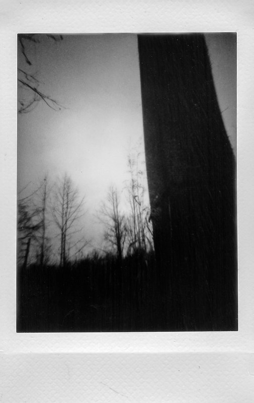 smokestack II, backlit, dusk, abandoned mill, brick urban decay, winter landscape, near dusk, River District, Asheville, NC, Lomo'Instant, Fujifilm Instax Mini Monochrome, 12.31.20