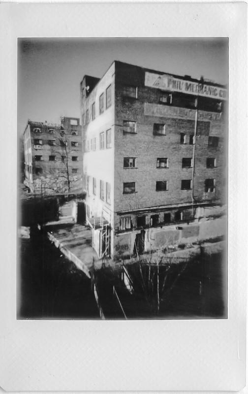 industrial architecture, abandoned, urban decay, River Arts District, Asheville, NC, Lomo'Instant, Instax Mini Monochrome, 1.4.21
