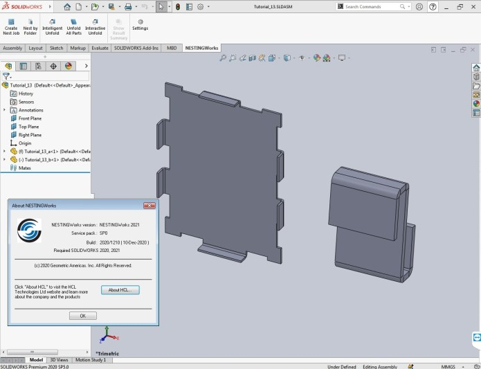 Working with Geometric NestingWorks 2021 SP0 for SolidWorks 2020 full license