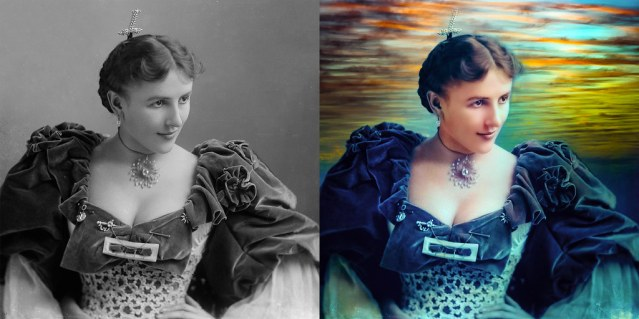 Before and after photo of Mrs. TM Heffner, c.1900. The before photo is flat black and white, the after photo is a riot of color.