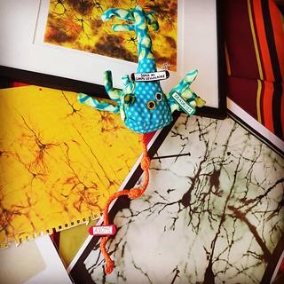 Sculpture en tissu de neurone tricolore pyramidal avec peinture