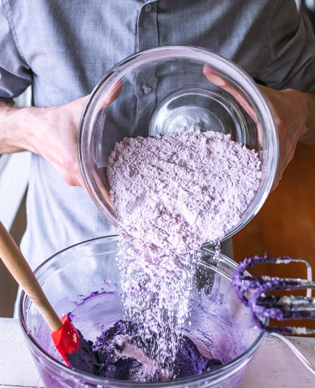 a pink cascade of flour