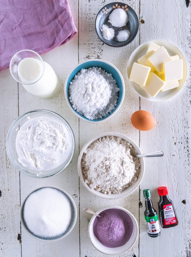 a spread of colorful ingredients to make ube whoopie pies