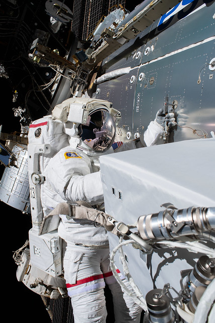NASA astronaut Michael Hopkins is pictured during a spacewalk