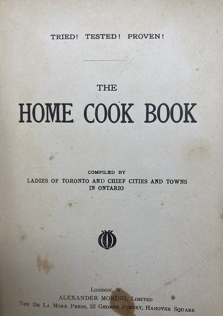 "The title page to the ""Home Cook Book"""