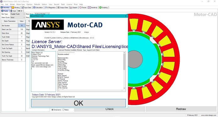 Working with ANSYS Motor-CAD 14.1.5 full