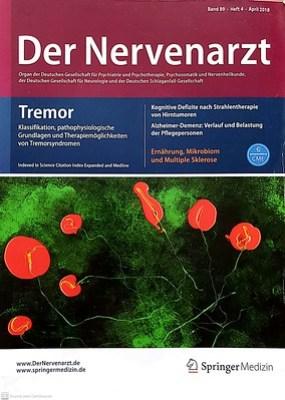 Nature Vivante - Couverture du numéro 4 (Heft 4 - Band 89) du magazine de médecine allemand Der Nervenarzt, avril 2018.