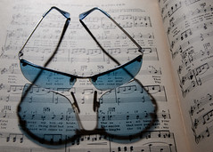 Blue sun glasses refraction music book