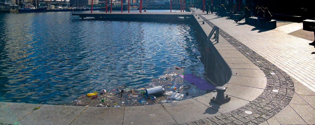DEPRESSING TO SEE SO MUCH LITTER IN THE WATER [GRAND CANAL SQUARE]-170252