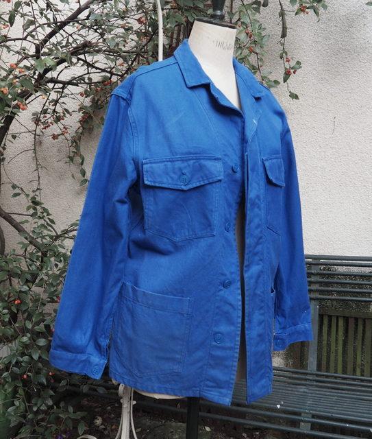 veste de travail vintage bleu de travail