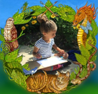 Photograph of child drawing with overlay of illustrations.