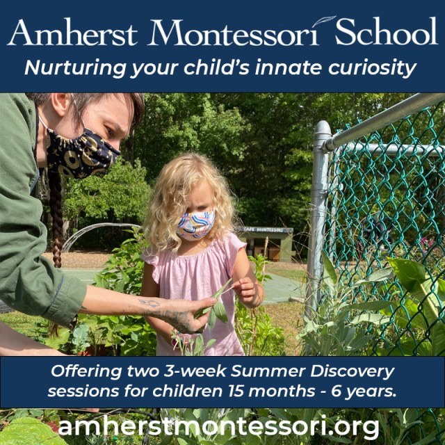 Photo of adult and child learning together in a garden with text overlay: Amherst Montessori School.