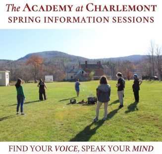 Photos of students from The Academy at Charlemont with text overlay: Spring Information SEssions.