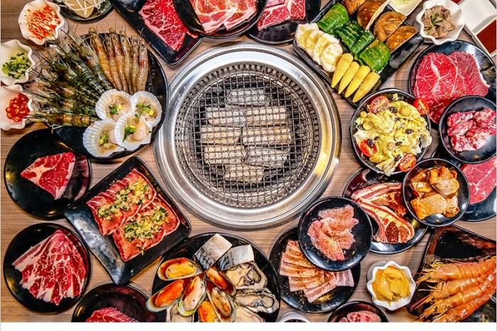 台中羊角炭火燒肉吃到飽(文心店) | 高CP值燒肉店!食材新鮮豐盛,安格斯沙朗牛排、生猛牡蠣、現撈泰國蝦、鹽蔥牛舌,啤酒暢飲,通通任你吃喝到飽。