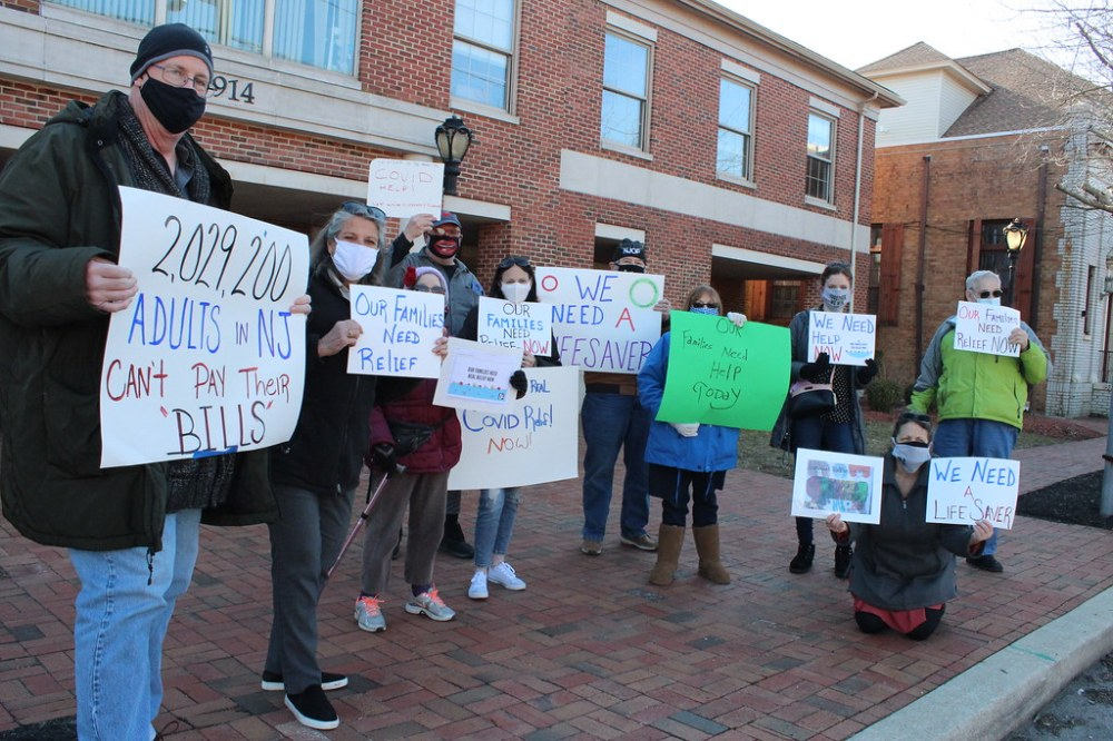 NJOP members outside Congressman Van Drew's office on 03.08.2021 reminding him that we need him to vote for real COVID relief