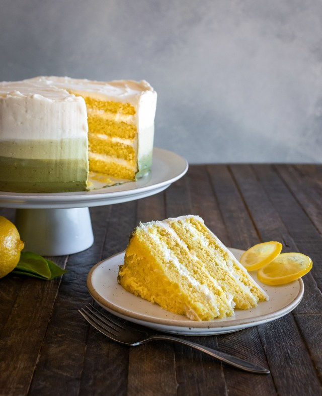 lemon layer cake with matcha frosting