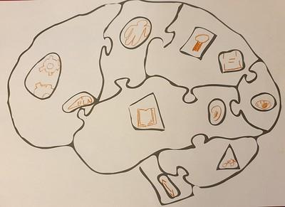 Template du puzzle du cerveau en bois de Cogni'Junior complété