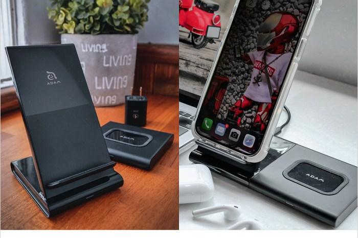 無線充電座開箱   亞果元素 OMNIA Q2x 二合一無線充電座,不再為線煩惱,可同時無線充電兩部裝置輕便好攜帶的追劇神器!