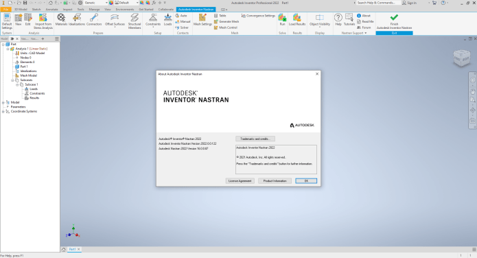 Working with Autodesk Inventor Nastran 2022 full