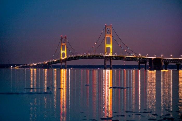 Light Reflections from the Mackinac Bridge (Explored)
