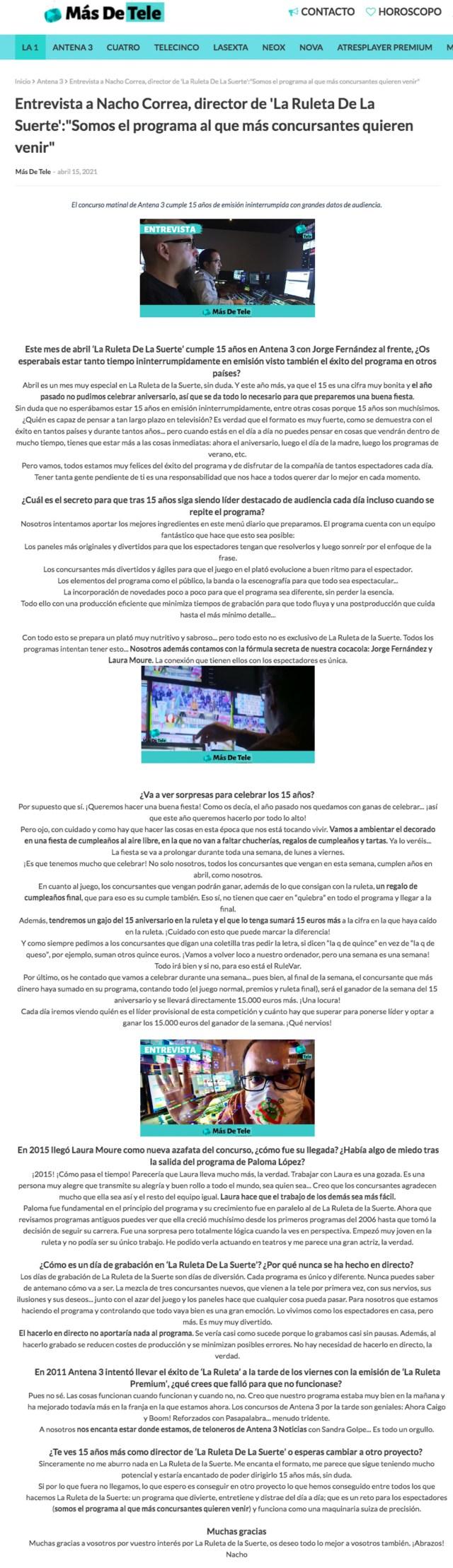 Entrevista a Nacho Correa - Más de tele
