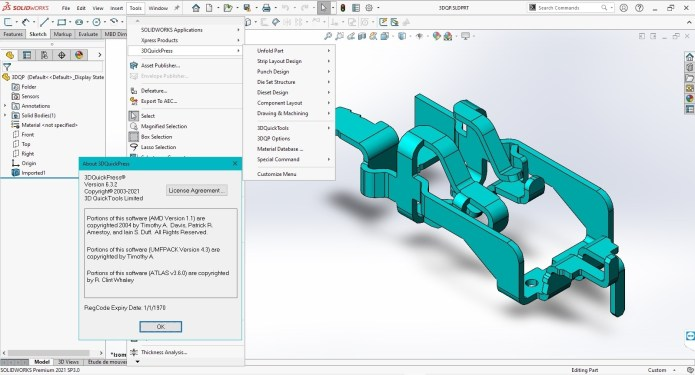 Working with 3DQuickPress v6.3.2 for SolidWorks 2012-2021 full