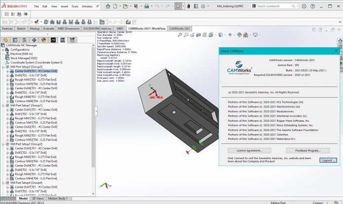 Working with CAMWorks 2021 SP2 Build 2021-05-20 Multilang for SolidWorks 2020-2021