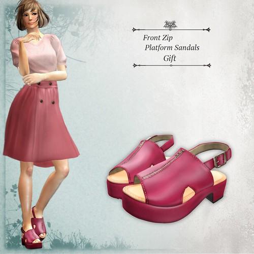 Front Zip Platform Sandals (Group Gift)