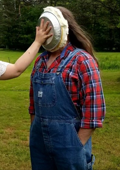 I receive a pie in the face.