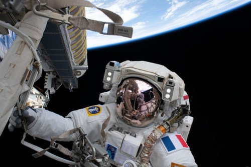 Spacewalker Thomas Pesquet during solar array installation