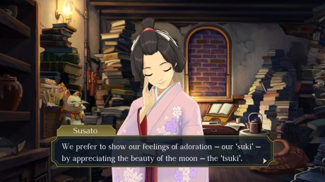 """The Great Ace Attorney Chronicles - Susato says: """"We prefer to show our feelings of adoration — our 'suki' — by appreciating the beauty of the moon — the 'tsuki'."""""""