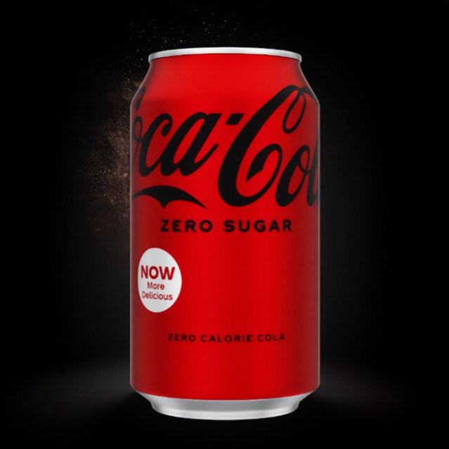 The New Coke Zero Sugar can, which is all red with black lettering.