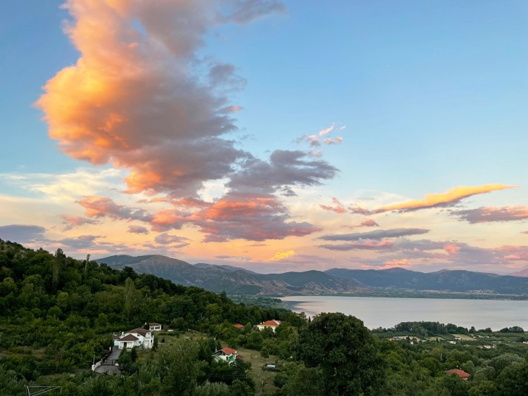Panorama over the Kastoria lake and its surroundings at sunset