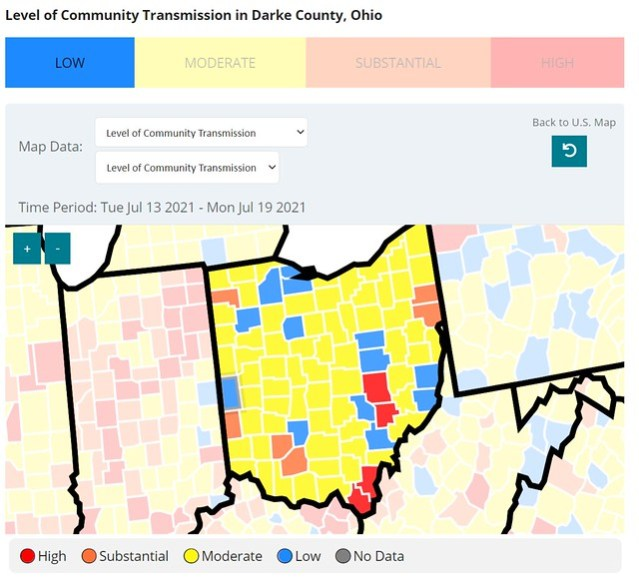 A map of Ohio with each county colored by incidence of community transmission