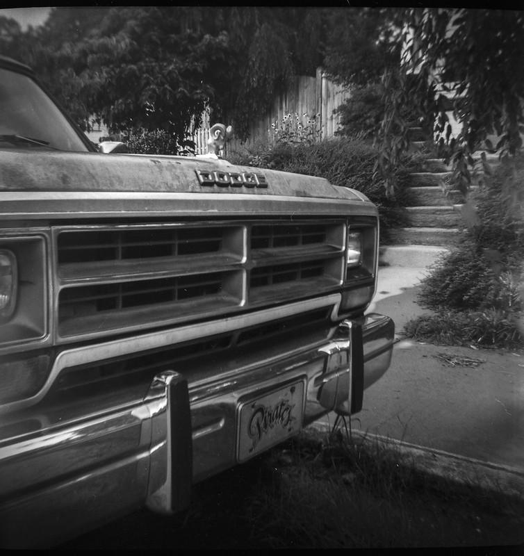 neighbor's old Ram, curbside, distant concrete steps, Mitchell Avenue, Ashleville, NC, Kodak Duaflex III, FPP Wolfman 620 film, HC-110 developer, 7.25.21