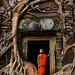 Novice Monk and Ancient Temple Ruin