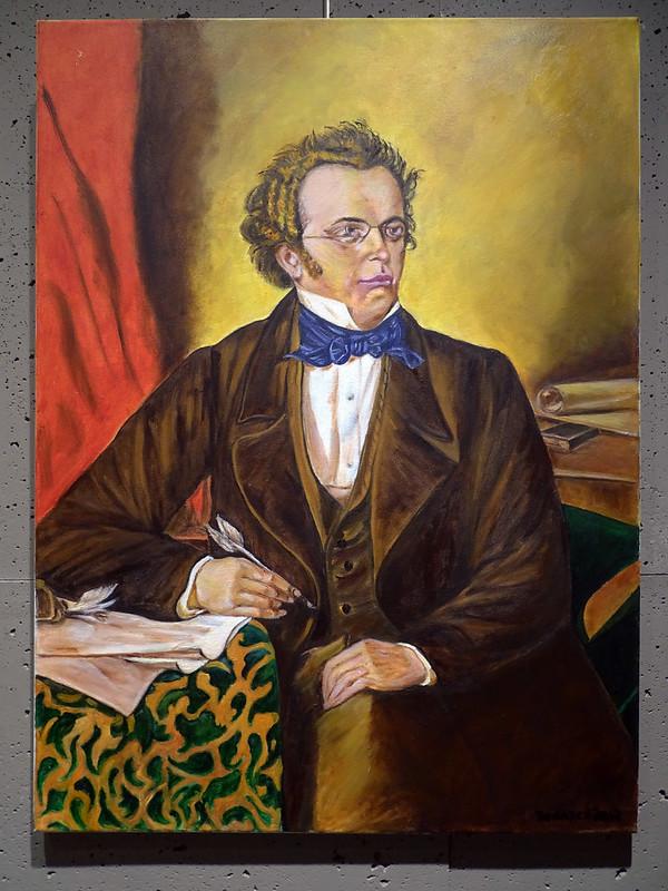 Franz Schubert retrato autores de música clásica pintor José Naranjo Calderín Exposición Ámbito Cultural El Corte Ingles abril 2021 Las Palmas de Gran Canaria