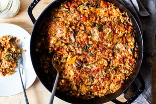 baked farro with summer vegetables