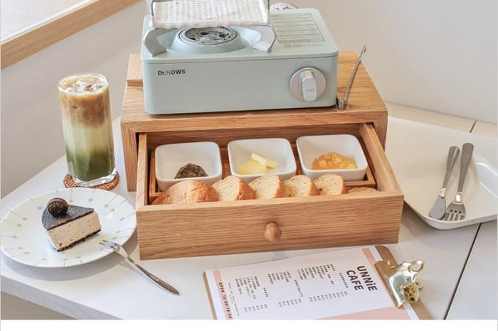 台中大里甜點店 | UNNIE CAFE,韓系烤吐司套餐,自己烤吐司好有趣,白色系裝潢超好拍照!