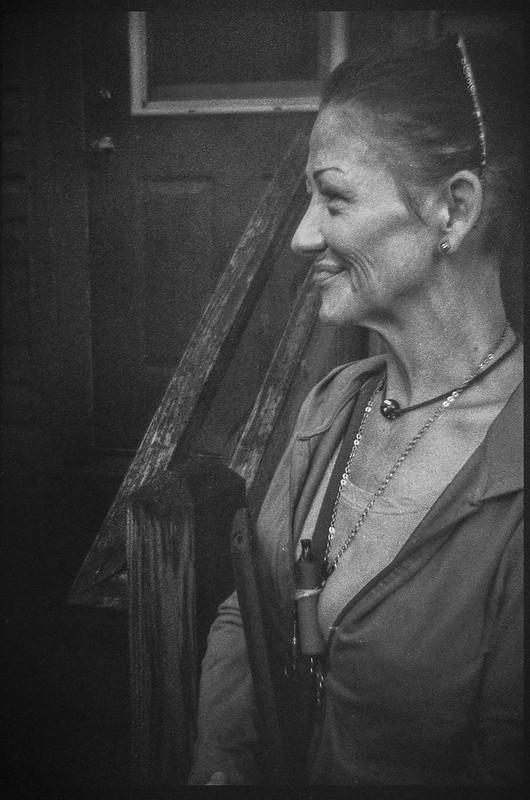 portrait of Beth, front door studio, lomography, Asheville, NC, Bencini Koroll 24S, Fomapan 400, HC-110 developer, 8.30.21