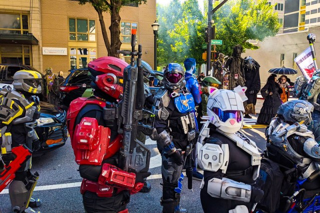 A crew of Master Chiefs waiting for the Dragon Con Parade to start.