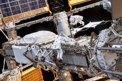 Spacewalkers Thomas Pesquet and Akihiko Hoshide