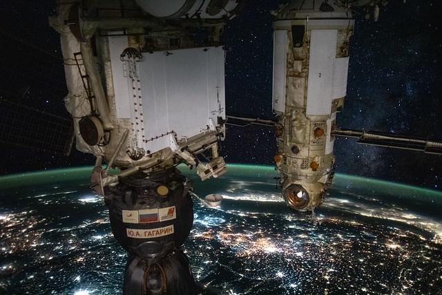 The Soyuz and Nauka above eastern Europe