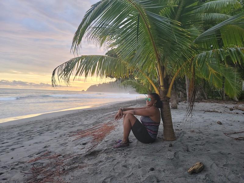 Manuel Antonio beach at sunset