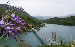 Suspension bridge on Lake Jablanica, Bosnia and Herzegovina