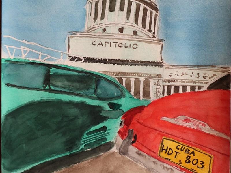 Capitolio and vintage cars, Havana, Cuba.