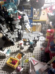 Classic Space: Undercity illegal drug dealer Droid-gang cornered by galactic police-force in Mech Walker and Hovercraft Robot Criminal scum of the Hive city and the valiant multi-species galactic Police (AFOL MOC Minifigure build and vignette LEGO Toy)