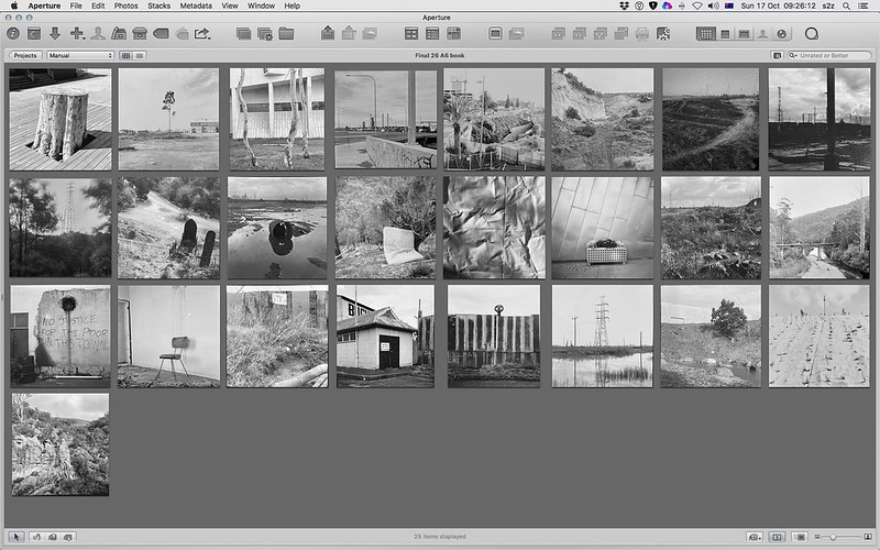 Final edit of 26 images in order, organised suing Aperture Apple's pro level photo management tool